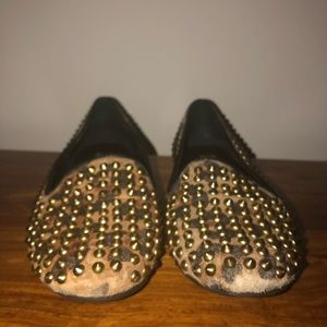 Leopard print flats with stones